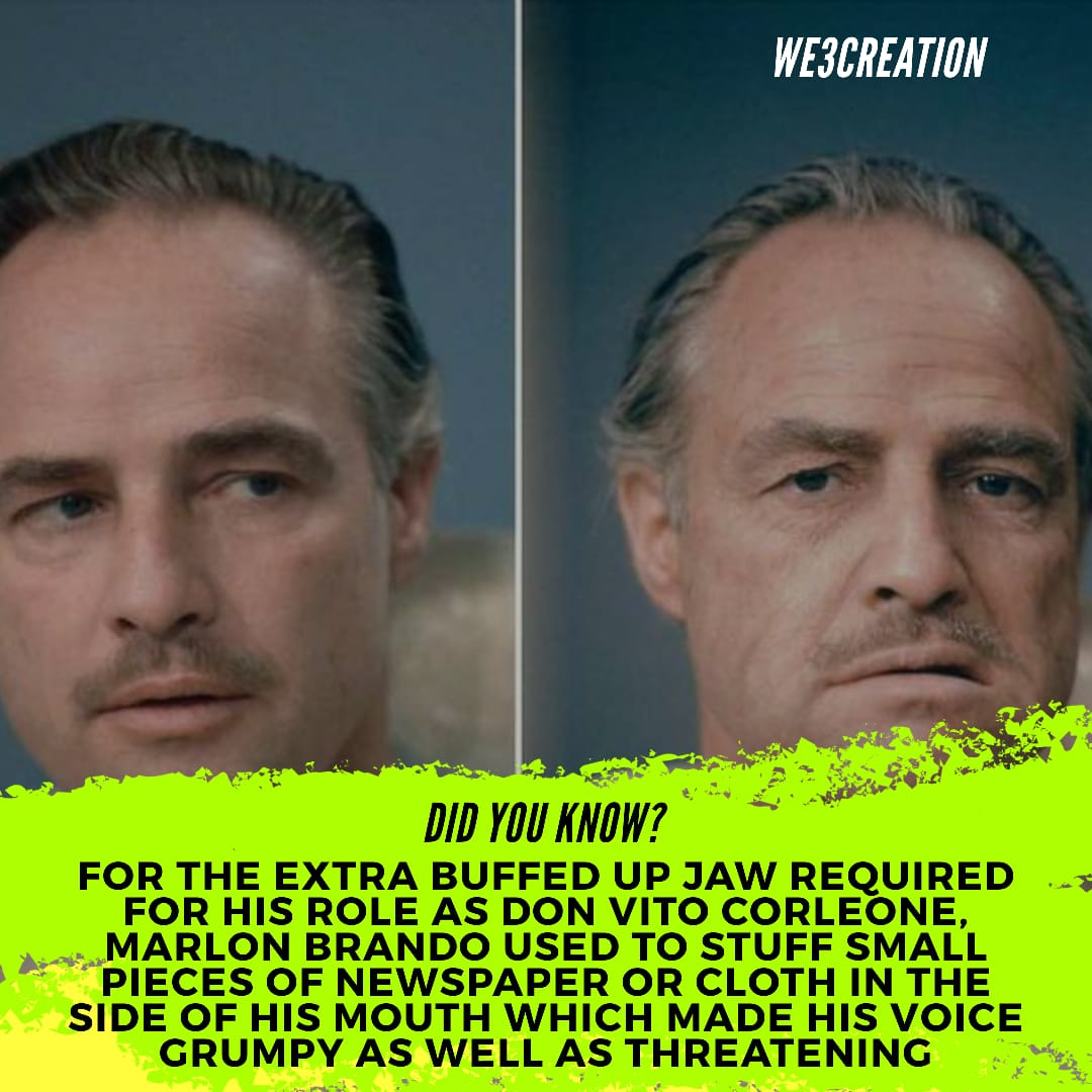 Did you know? For the extra buffed up jaw required for his role as Don Vito Corleone, Marlon Brando used to stuff small pieces of newspaper or cloth in the side of his mouth which made his voice grumpy as well as threatening.  #movies #film #MarlonBrando #TheGodfather #DidYouKnow https://t.co/sOn5DTevci