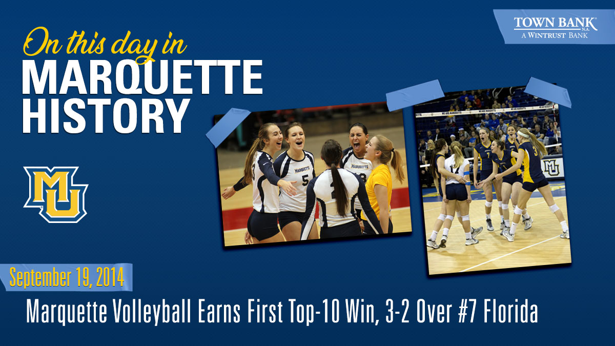On this day in 2014, @MarquetteVB earned the first Top-10 victory in program history beating #7 @GatorsVB 3-2.