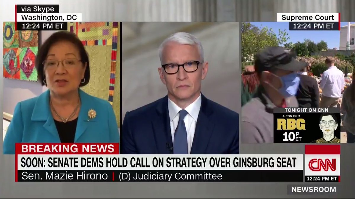 """The Democrats are going to do everything we can to fight back to ensure that [Senate Majority Leader McConnell] doesnt steal another seat,"" Sen. Mazie Hirono says about the Supreme Court vacancy after Ruth Bader Ginsburg's death. cnn.it/32LwTby"