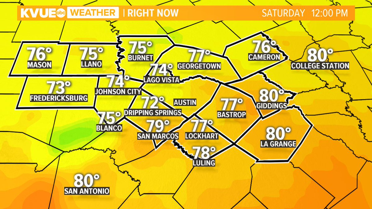 It's lunch time! What's cookin'? Here's a look at the current 'feels like' temperatures. #ATXWX #KVUE https://t.co/iX8x4Ee7wx