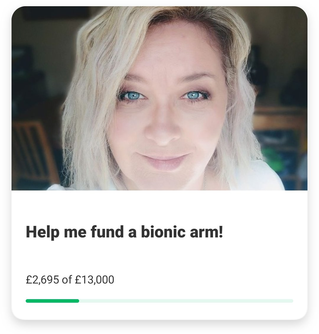 📢20% funded!🎊 You're all awesome, thank you so much! Every day, thanks to some selfless and generous human beings, I'm getting that little bit closer to an @openbionics #HeroArm 🦾 #bionic #disability #limbdifference #AlitaArmy #BionicBev #prosthetics #disabledtwitter #disabled https://t.co/bu9tIx76Xo https://t.co/mWBxU2VSsz