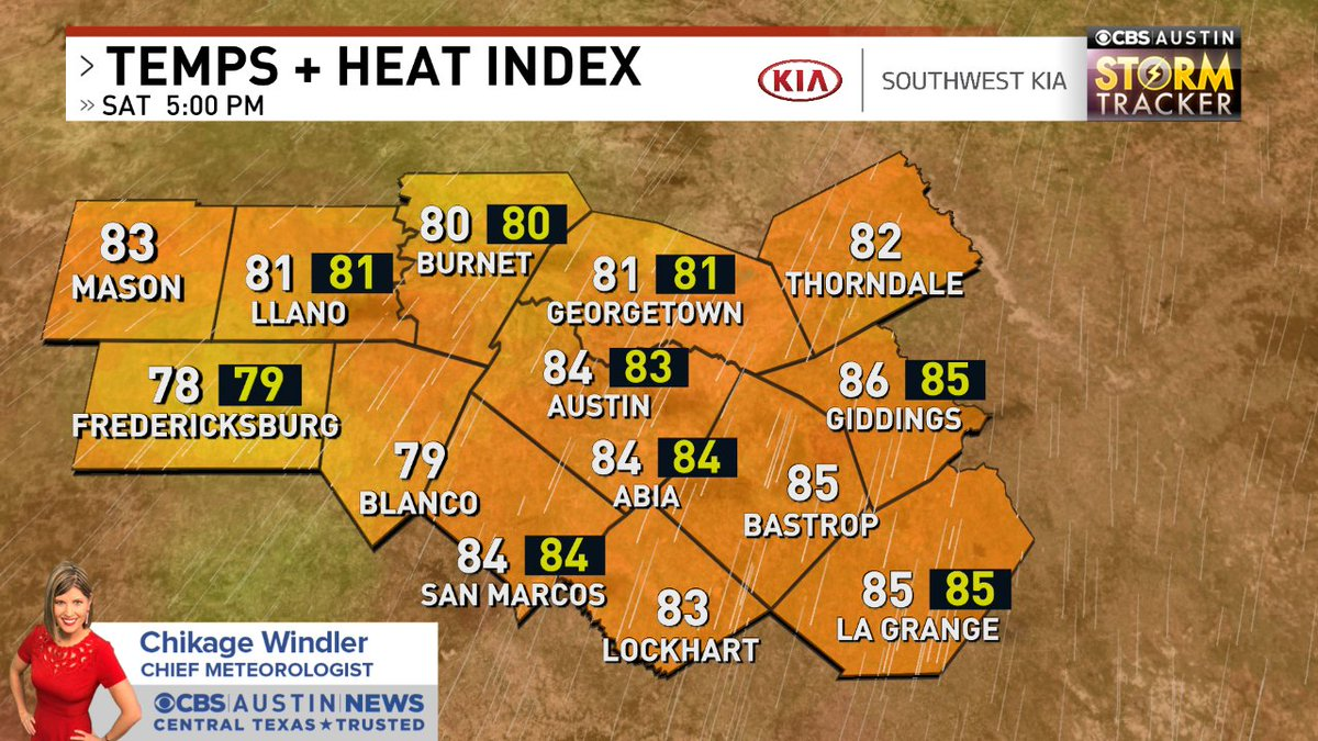 Hourly check of Temps + Heat Index across the @cbsaustin area. Forecast -> https://t.co/7Dainv4mOG #atxwx #cbsaustinwx https://t.co/X3oAtsngs9