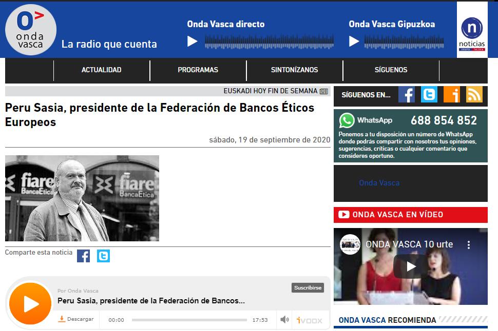 Entrevista en @ondavasca a @Perusasia, vicepresidente de @bancaetica tras su reelección por otros tres años como presidente de @FEBEAethicalfin.   Oye la entrevista completa aquí 📻🎧 👇  https://t.co/713igJw1Ir https://t.co/L8iWYakYic
