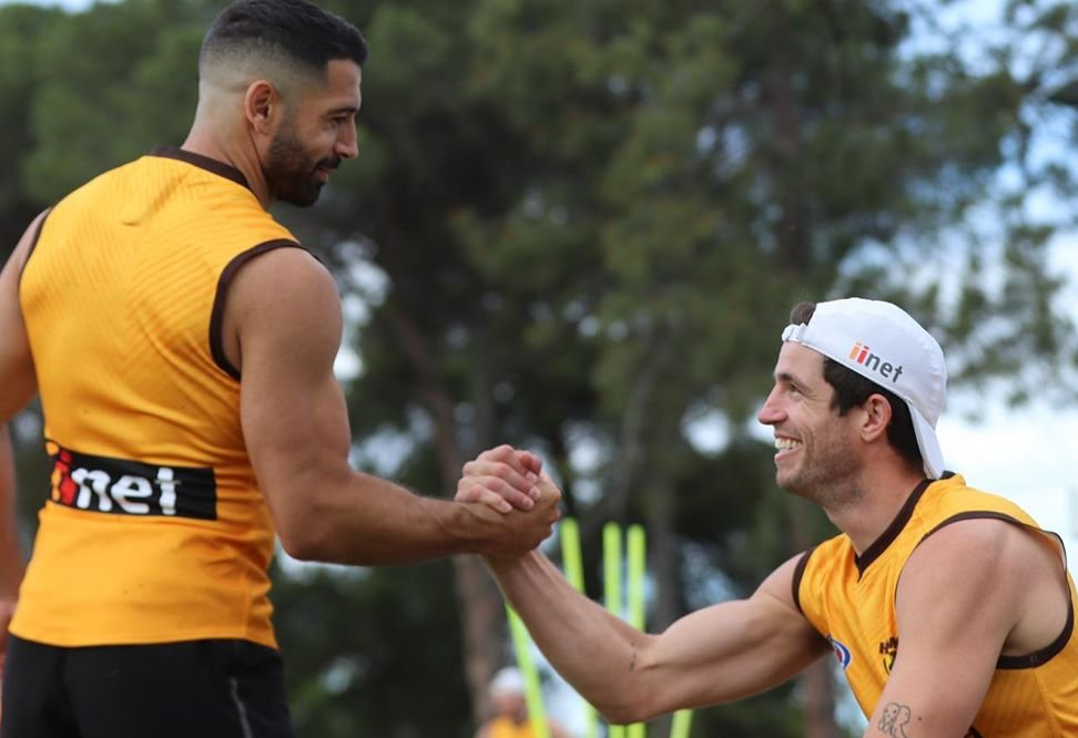 Game day! Our final clash for the season kicks off this afternoon. Check out the latest ep of the Hawk Talk Podcast before the first bounce!  Apple: https://t.co/VrKxTygoHe Soundcloud: https://t.co/SGsHf46zUd Patreon: https://t.co/x0hfk2KJVC  #AFLHawksSuns #Always https://t.co/ebeiYcR4BV