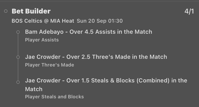 Just Bet Builders. Got four for you guys tonight, two of them I really like. Great odds for things that have landed consistently. Got a 20/1 longshot. (If you add Jae Crowder o0.5 blocks, it is 40/1) Then a builder of players I think hit their over.   #PlayerProps #NBA #Tips https://t.co/wDKsixdo8s
