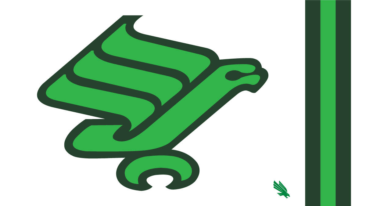 If youre not aware, North Texass Flying Worm logo has returned to action during todays FB game against SMU. The eagle logo appeared on their helmets from 1973-82 and again in 2013. Todays colors dont match the original. #GMG #UNiTeNorthTexas