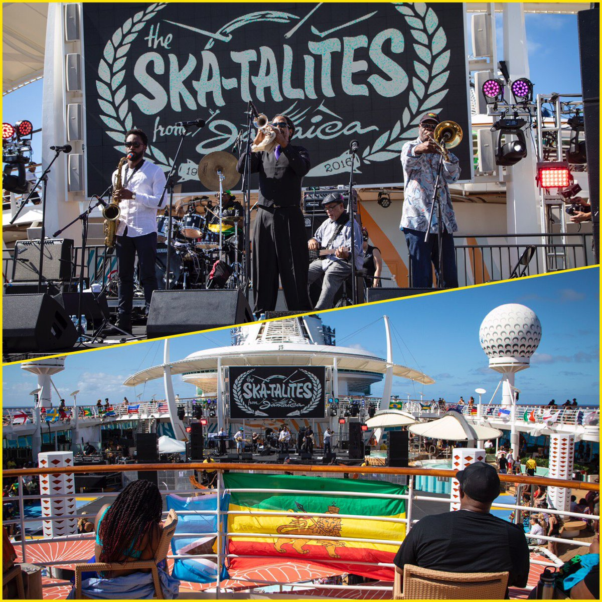 It was smooth sailing when the legendary @Skatalites took the stage with #KenBoothe, #LeroySibbles & #HoraceAndy during our 5th Year Anniversary #WTJRC!! ❤️💛💚⁣ ⁣ 📸: @EvanWo ⁣ #Skatalites #WelcomeToJamrock #Reggae #Cruise #ReggaeMusic #Memories #GoodVibes #Jamrock2018 https://t.co/2d6fU6Qolz