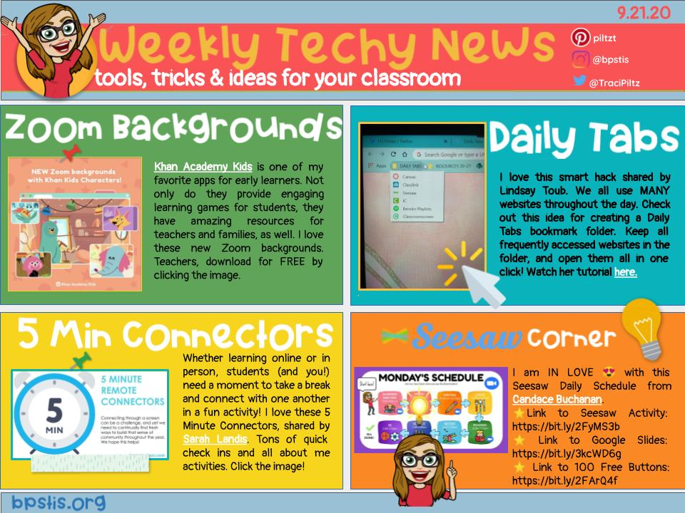Weekly Tech-y News📰 has fun virtual meeting 🖥️ backgrounds from @khanacademykids🐻❄️🌟,  a workflow tip 📌 from @cblitoub, 5 min ⏰ connector ideas from @SARAHLANDIS & fantastic @seesaw daily schedules 🗓️from @candytechideas. Check it out at https://t.co/yTAUDAMEFD. #BPSLearns https://t.co/8HrMJ58xzU