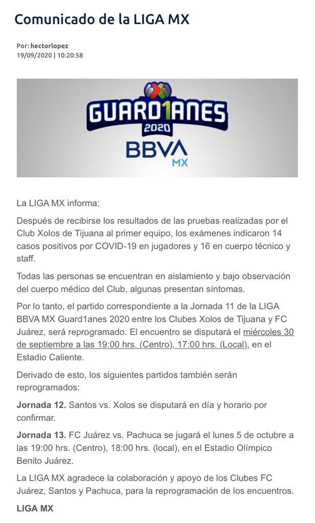 🚨🚨🚨🚨🚨🚨🚨🚨🚨🚨🚨🚨  Los #Xolos de #Tijuana reportaron hoy tener 30 casos positivos por #COVID19 entre jugadores y staff.  Esto llevó a una serie de cambios de días y horarios en partidos de #LigaBBVAMX.  #Guard1anes2020  #LigaMX https://t.co/ycSCushJCD
