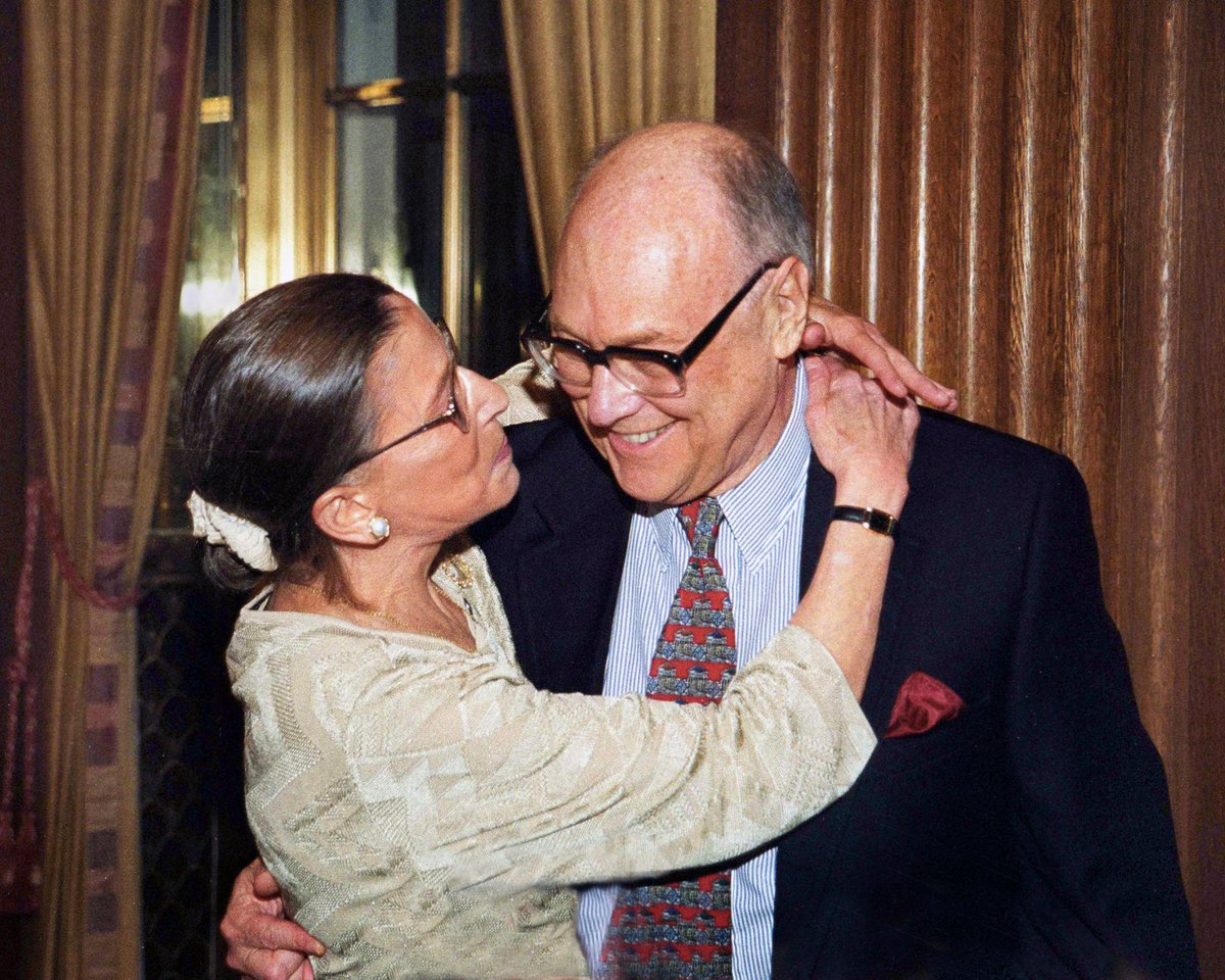 """""""Marty was an extraordinary person. Of all the boys I had dated, he was the only one who really cared that I had a brain. And he was always, well, making me feel that I was better than I thought I was."""" — #NotoriousRBG https://t.co/n8e3Qzg5XA"""