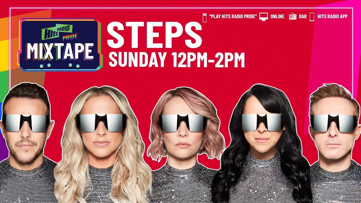 🚨 @OfficialSteps FANS 🚨   They're joining me for 2 WHOLE HOURS on the Hits Radio Pride Mixtape tomorrow @ 12 so be asking your smart speaker to play Hits Radio Pride ❤️  @hitsradiouk #PRIDE https://t.co/XnWAvkOD3N