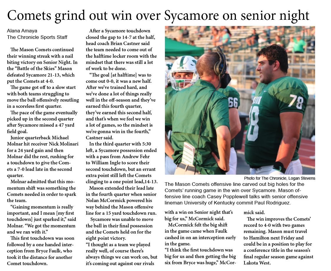 ➡️Direct to Twitter Story @MasonCometsFB improves to 4-0. Check out Alana Amaya's Chronicle story @gmcsports @CoachCastner https://t.co/qBLnm0EM8X