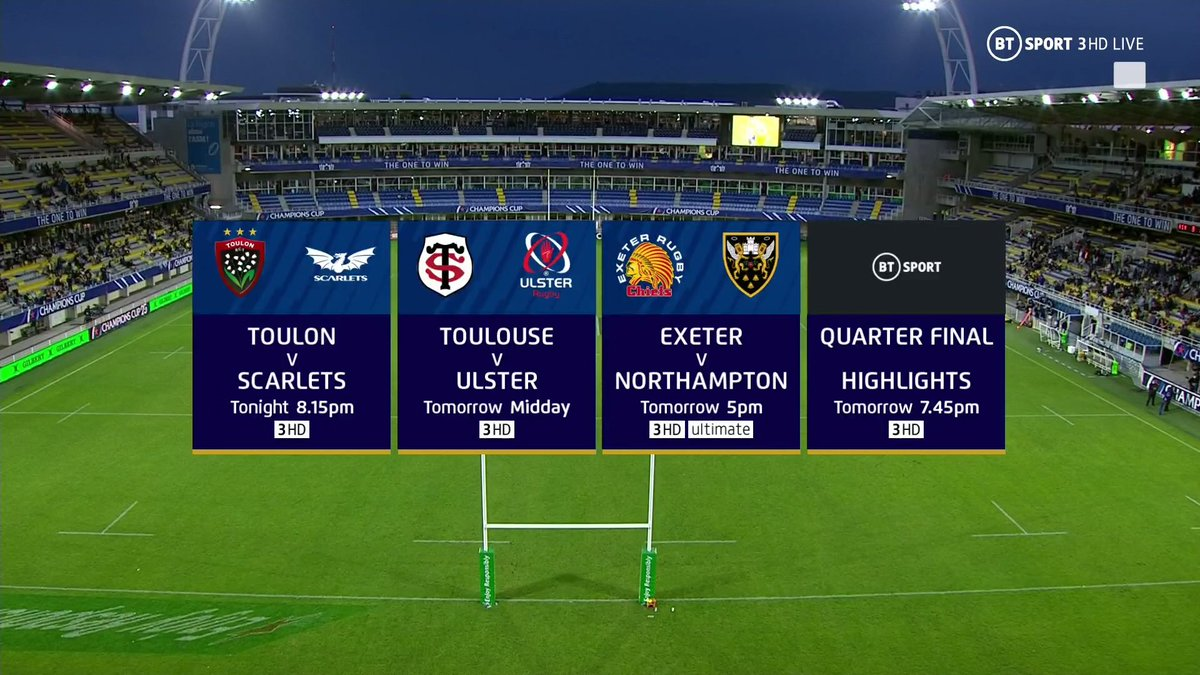 test Twitter Media - Yes, we've got MORE rugby coming up! 🤤  Toulon vs Scarlets in the #ChallengeCup now on BT Sport 3 HD, and two huge #ChampionsCup quarter-finals tomorrow!  Missed any of the action? Our highlights show at 7.45pm, Sunday has you covered 🙌 https://t.co/wxNzAHyx3A