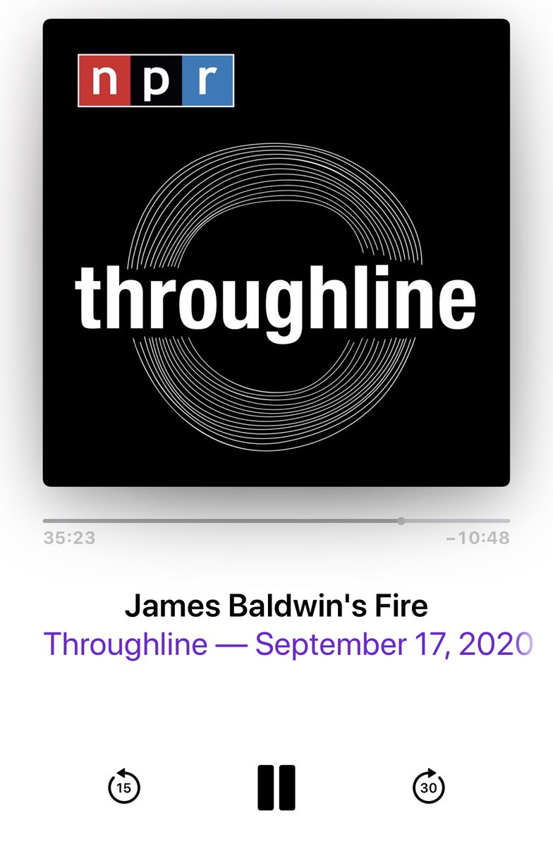 While #BryanStevenson is my living Beyoncé, without question #JamesBaldwin is my posthumous one. An icon of courageous ideas both written and spoken, I'm a super fan for sure. Today's #dothework rec is this discussion on @throughlineNPR. Baldwin was SO DOPE. Listen to this.👊🏽