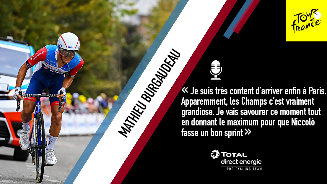 🎙 @mat_burgaudeau est impatient de découvrir les Champs-Élysées. Il va boucler son premier @LeTour sur la plus belle avenue du monde 🙌  📰 https://t.co/br5E8PD3mj  #AllezTotalDirectEnergie⚡ #TDF2020 https://t.co/elD6nECyH3