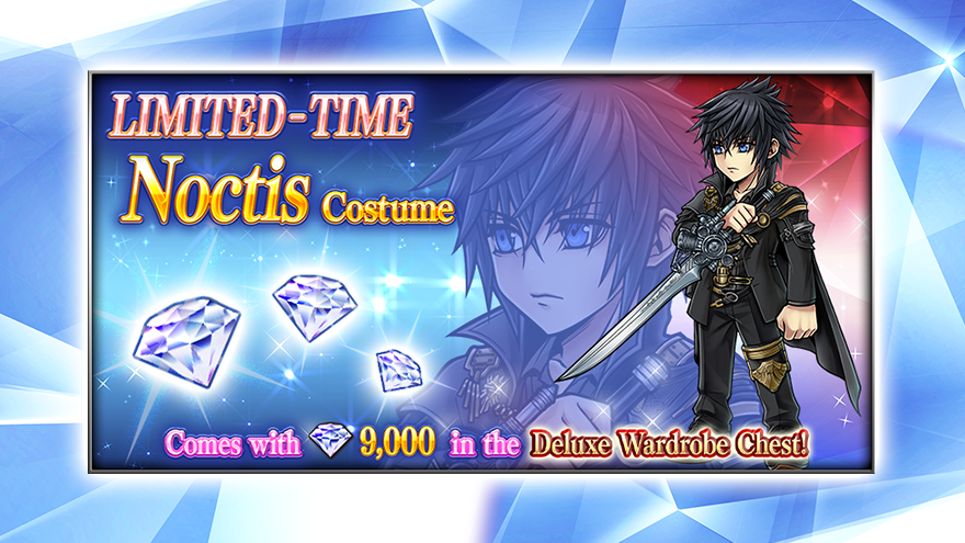 Dress Noctis in an outfit befitting a king in #DissidiaFFOO!  Noctis's extra costume resembles his regal attire from #FFXV, and is available until October 2 (UTC)!  This limited-time wardrobe chest is bundled with 9,000 Gems, so don't miss out! https://t.co/qoIFrHP2zS