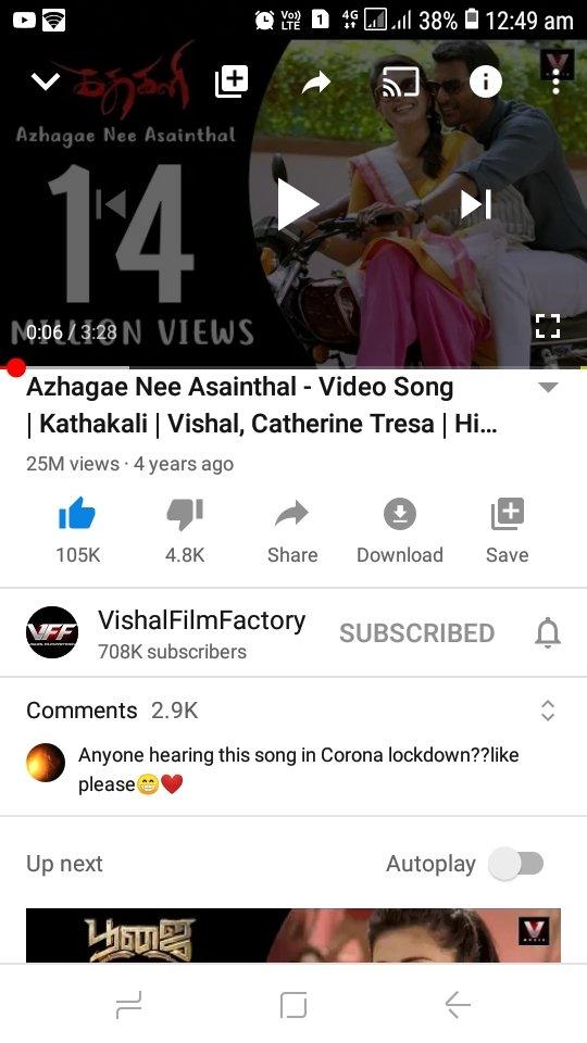 25million of #Azhagae song 😍💥💥 from #Kathakali @VishalKOfficial #25MiOfAzhagae #HipHopTamizha #vishal  https://t.co/SbkdHDql3P https://t.co/pa0eadrIyC