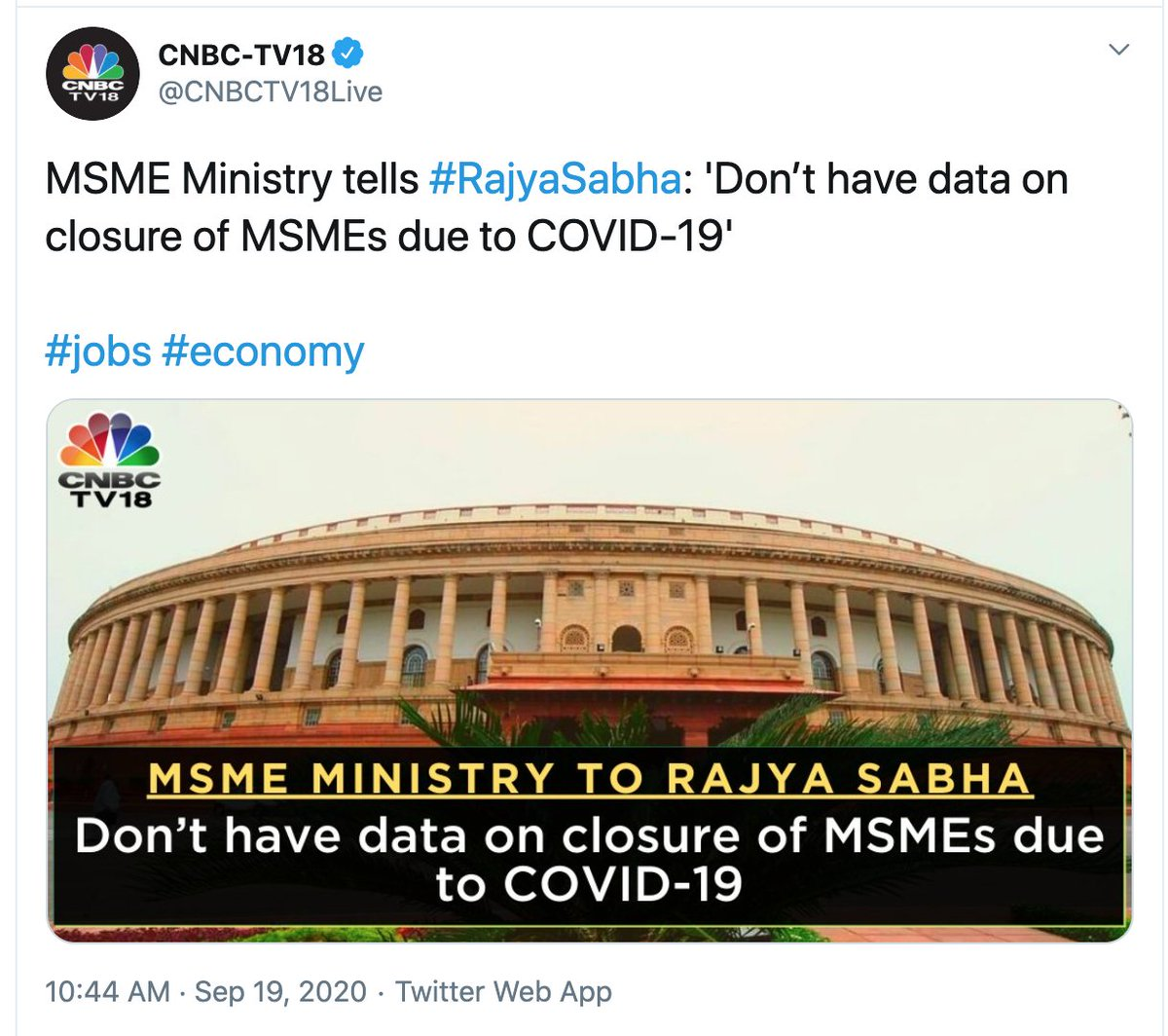 Why is it that the government claims big numbers for job creation but they have no clue how many jobs lost and how many MSMEs shut down?  #Media #SpeakUp https://t.co/x3PycJ9wbw