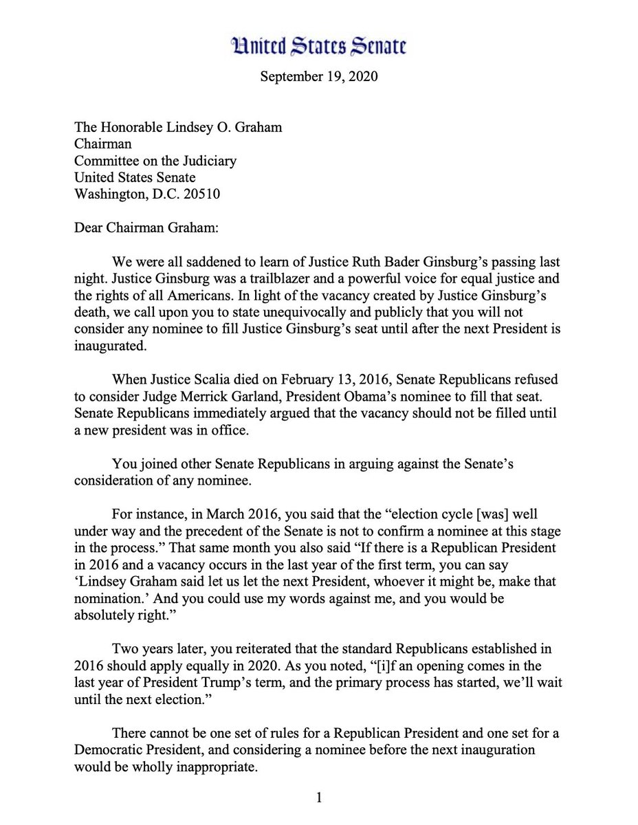 """All 10 @JudiciaryDems are calling on @LindseyGrahamSC to delay action on filling Justice Ginsburg's seat until AFTER the inauguration of the next president: """"There cannot be one set of rules for a Republican President & one set for a Democratic President."""" https://t.co/BUNlGAqvCC https://t.co/knx2rC5Vrm"""