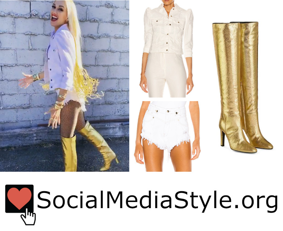 Buy @gwenstefani's #Retrofete white denim jacket and shorts and @giuseppezanotti gold boots from the #ACMawards here: https://t.co/8nQjwOF8IN #GwenStefani #whitedenimjacket #denimjacket #shorts #whiteshorts #distressedshorts #shortshorts #goldboots #boots #GiuseppeZanotti https://t.co/F7EYA2ErVG