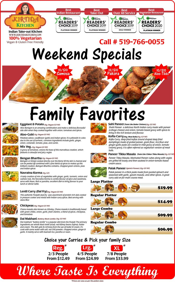 Check out our most all time Family Favorites dishes or looking for family dinner deals for  tonight..? check this out  best in town, perfectly portioned and tasty treats for whole family #kirtidakitchen  #GuelphOntario #takeout #familydinner #familydeal #guelph #readerschoice2020 https://t.co/vnbiYziIum