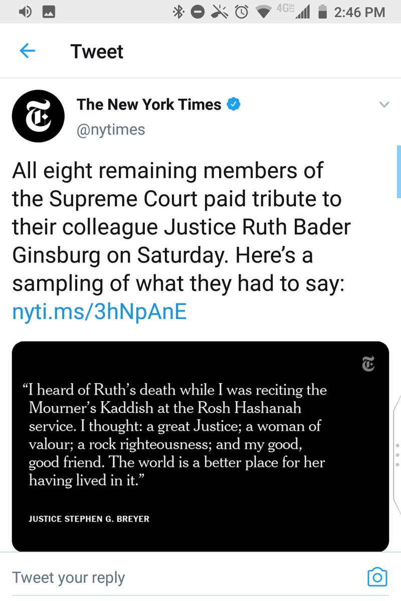 """@nytimes Delete:  you misquoted Justice Breyer in your picture card.  He said she was """"a rock of righteousness,"""" not, nonsensically, """"a rock righteousness."""" https://t.co/IJcVMVYWGi"""
