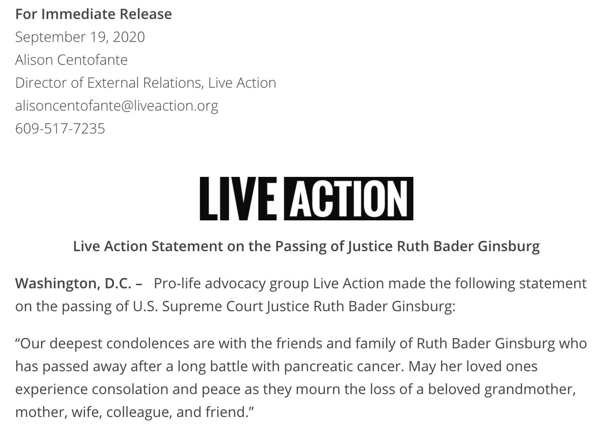 BREAKING: Live Action Releases Statement From Founder @LilaGraceRose On The Passing Of Justice Ruth Bader Ginsburg And The U.S. Supreme Court Vacancy: https://t.co/OSK36wm3hH