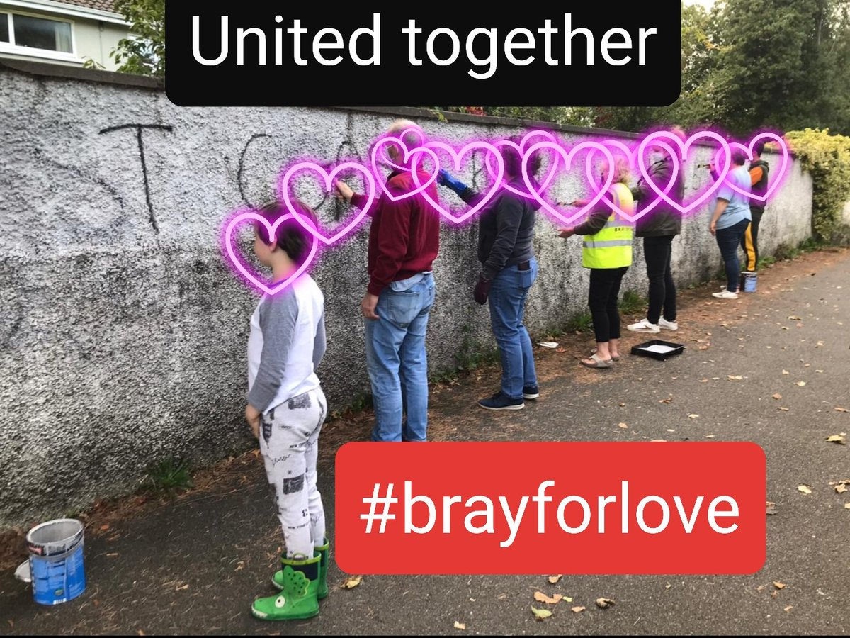 More hate graffiti. We know that the vast majority of people in our town and community share our positive view of Bray and support #brayforlove . Some of our volunteers along with volunteers from community groups painted over it today. https://t.co/OVHXCIevq8