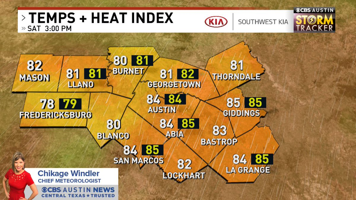 Hourly check of Temps + Heat Index across the @cbsaustin area. Forecast -> https://t.co/7Dainv4mOG #atxwx #cbsaustinwx https://t.co/C9gwg9OQzV