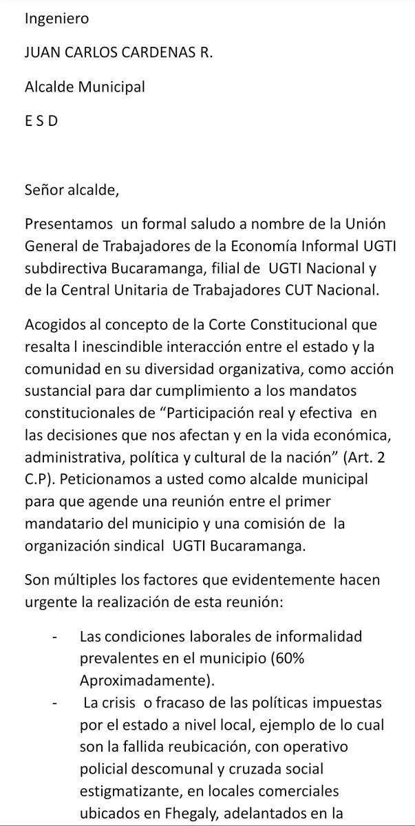 #UGTI #Bucaramanga  radicó ante @AlcaldiaBucara vía correo electrónico derecho de petición que respalda  junta nacional de UGTI Presidente Guillermo Giraldo https://t.co/k2Z265wruW