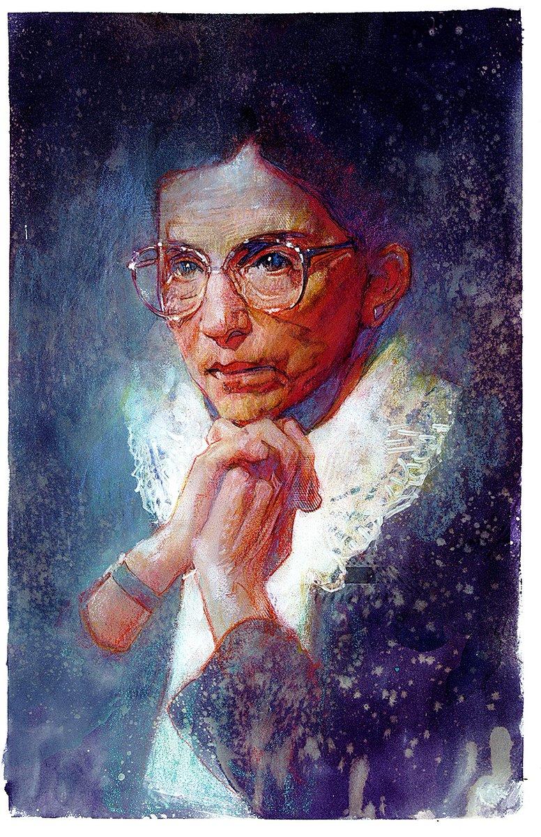 R.I.P. #RGB #RuthBaderGinsberg   11x17 watercolor, oil, mixed media https://t.co/0meYPJI0wm