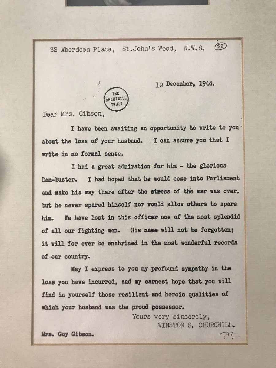 Today in 1944 Guy Gibson VC crashed and was killed in the Netherlands, while returning from a raid in Germany. He was 26. Here's Winston Churchill's letter to his widow and an extract of a letter from a man who served under his command. https://t.co/U4eoggw8Lo