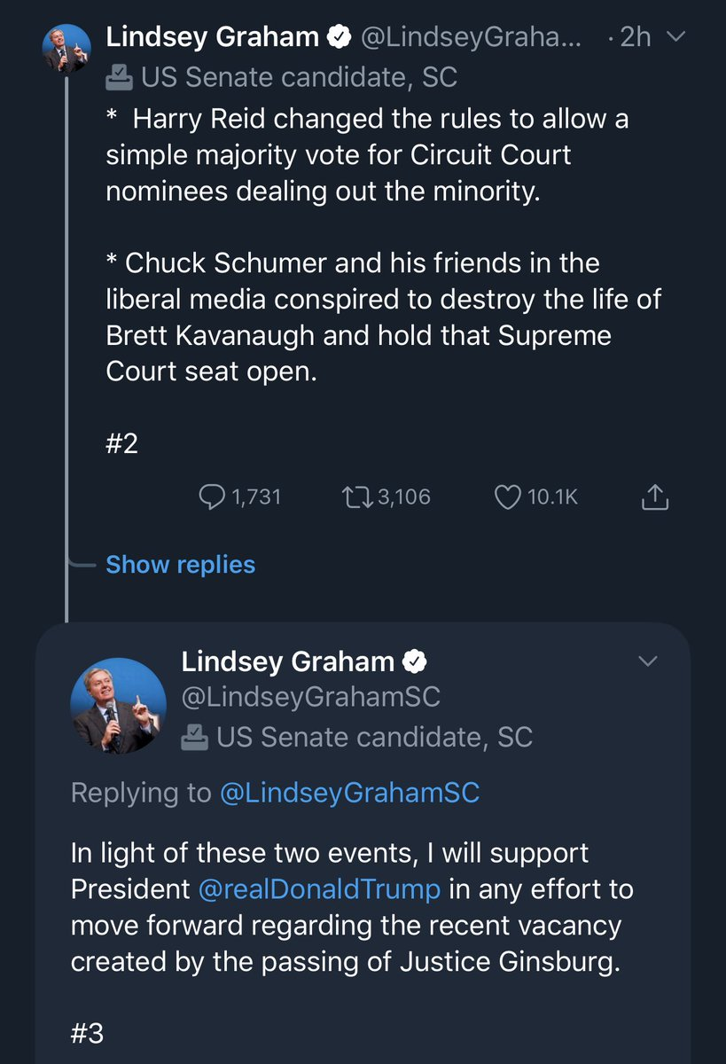 Responding to a clip of himself from October 3, 2018 clearly vowing NOT to vote to confirm a Trump SCOTUS pick in an election year, Graham references a rules change by Harry Reid *from 2013* and Kavanaugh's confirmation from *late September 2018.*  Both had ALREADY happened. https://t.co/Rxhy2umTWe