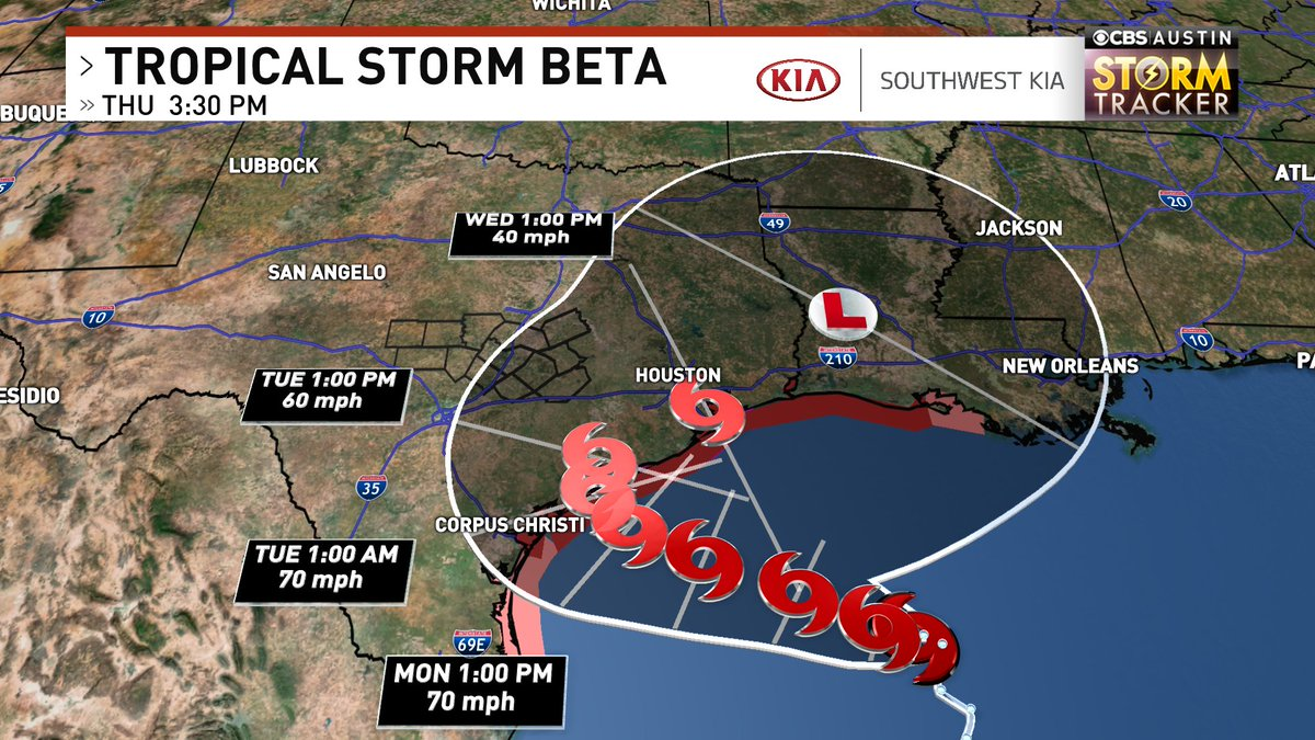 4 PM advisory for #Beta: No change in strength, but current movement is down to... 0 MPH  Storm surge warnings now in effect for the Texas coast from  Forecast path has shifted inland some. Austin in possible path. That will bring more rain to Central/Southeast TX #txwx #atxwx https://t.co/xH0fqKMjgp