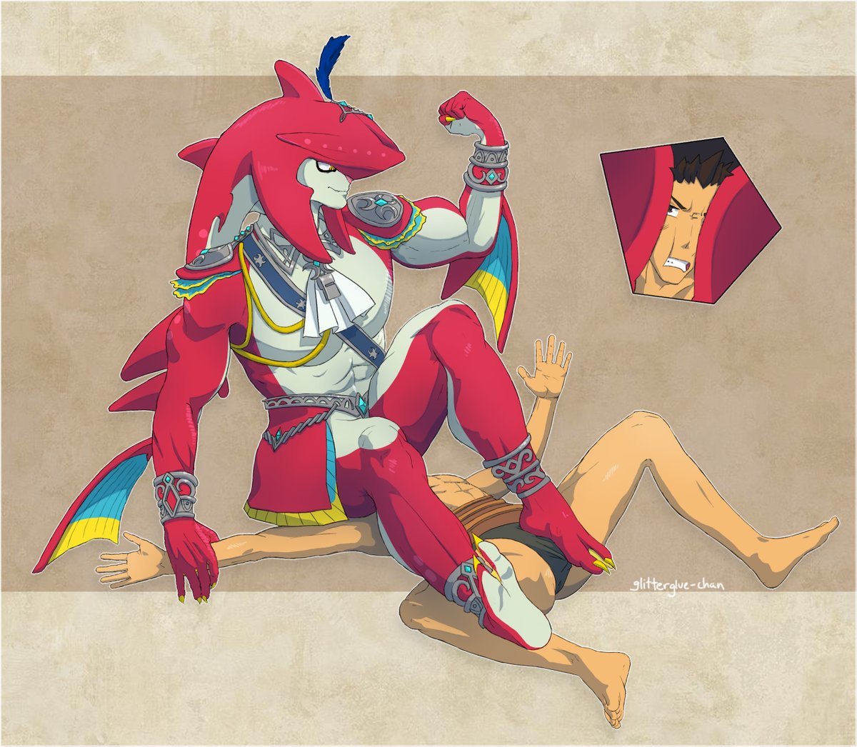 Slightly less old Sidon commission >:D #Zelda #sidon #bara #yaoi #muscle #musclegrowth https://t.co/sfHd1ZaE3E