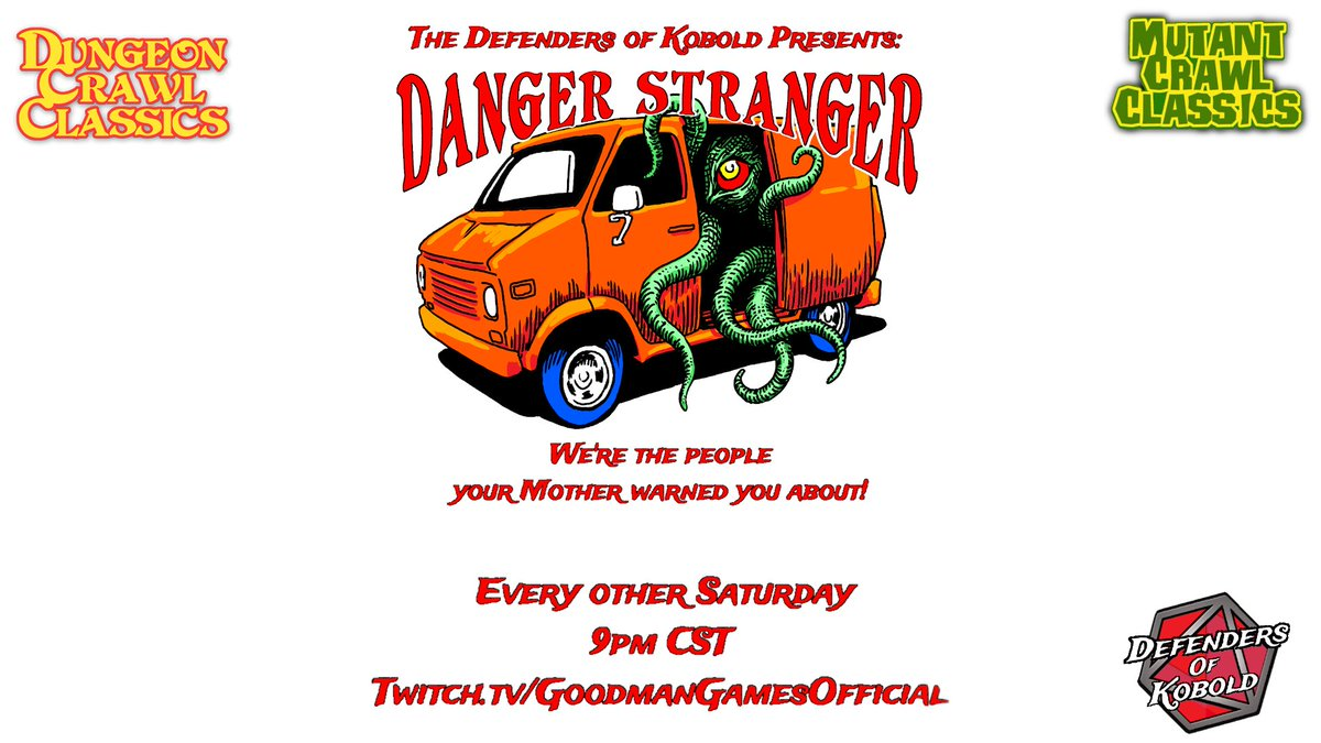 We're back for some more Danger Strangers tonight, at 9pm cst on https://t.co/HIUKtyjymC. We're continuing our play of the Phylactery Grindhouse Hex-crawl by @PlanetXGamesCo. Make sure you tune in! @GoodmanGames @FRENDEN @RiotJentendo @lollygaggerco @ChristophorRick @3DVee. https://t.co/lsJJgqueVN
