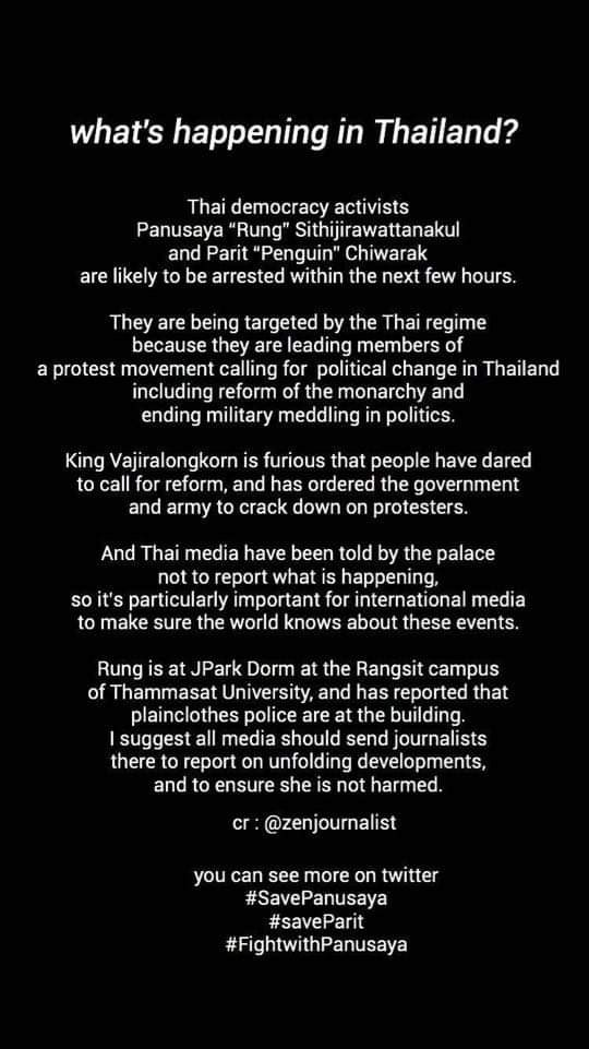 Please read..... Help us please....🙏  #whatshappeninginthailand  #19กันยาทวงอํานาจคืนราษฎร  #uk #USA  #protests2020  #democracy  #ThailandProtest2020  #thailand https://t.co/6AVZ7qYNfc