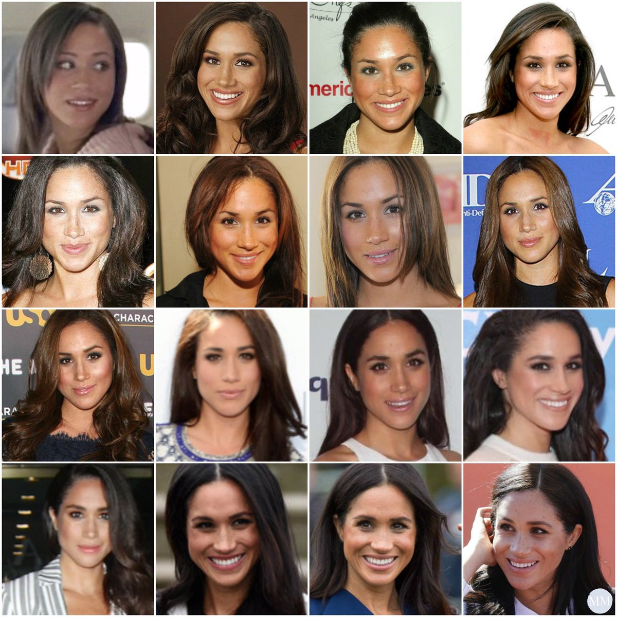One thing that has remained (mostly) constant in Meghan's life since 2004? Her hair! Looking allll the way back to 2004, her long locks are a trademark look. #TBT https://t.co/MZHiSkRwbf