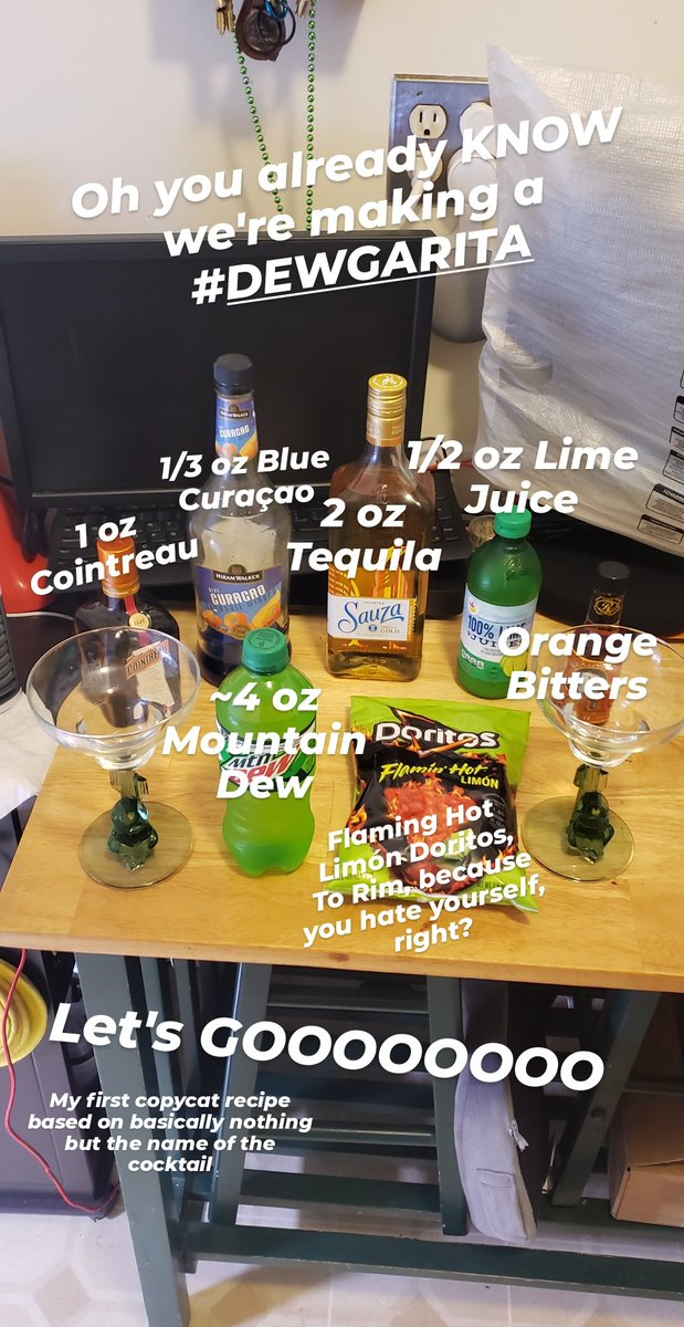 THE #DEWGARITA 2 oz #Tequila 1 oz #Cointreau .5 oz Lime Juice 1/3 oz Blue Curaçao 2-3 dashes Orange Bitters 4 oz #MountainDew Shake all but Mtn Dew w/ ice Rim a #Margarita glass with crushed #Doritos Add the Mtn Dew and stir Think about your life and choices @redlobster #copycat https://t.co/vximxnnJhn