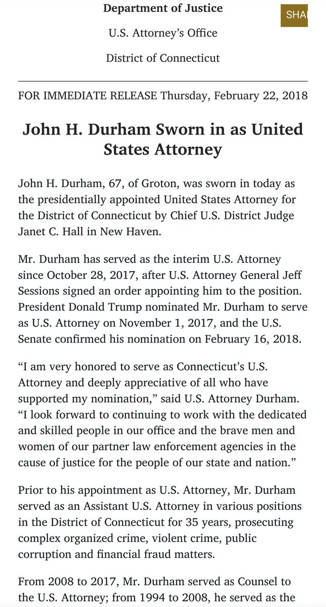 """@ThunderB """"Mr. Durham has served as the interim U.S. Attorney since October 28, 2017, after U.S. Attorney General Jeff Sessions signed an order appointing him to the position. President Donald Trump nominated Mr. Durham to serve as U.S. Attorney on November 1, 2017"""" https://t.co/kFhxPqq3JR"""