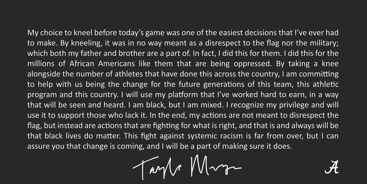 My statement in response to the hateful fans comments on kneeling at today's game. https://t.co/UJ4eATJYT4