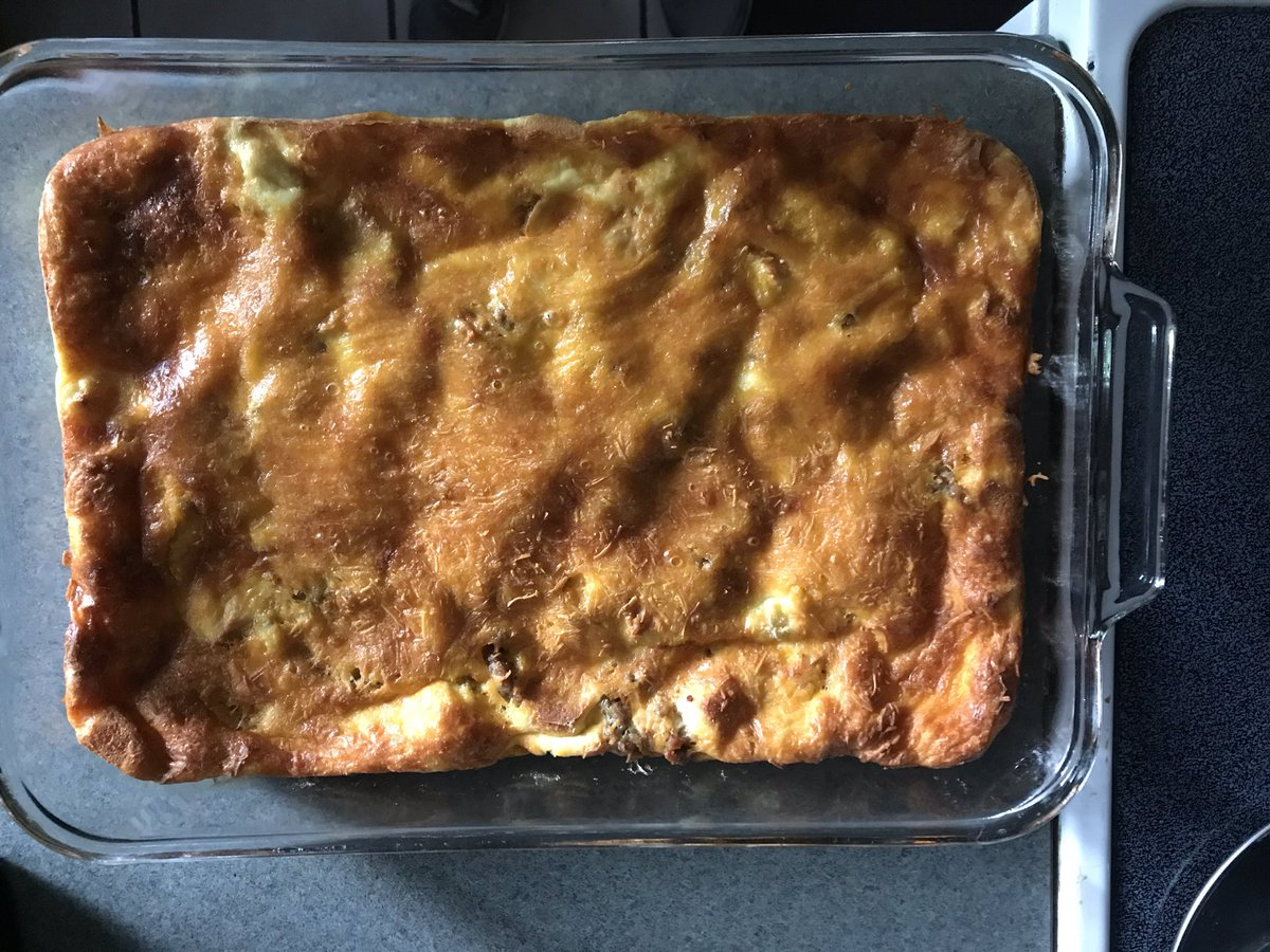 Breakfast casserole with eggs, sausage, bread cubes, cheddar cheese & milk. #tasteofhome https://t.co/wrCUBIxHST