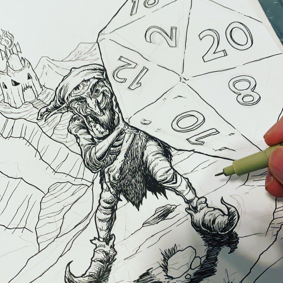A #Goblin pushing a #d20 boulder up a mountain... A metaphor of #IndieGame creators?!  #TTRPG #DnD #Artwork #BlackAndWhiteArt #ShowYourWork https://t.co/ts8NyQcuVL
