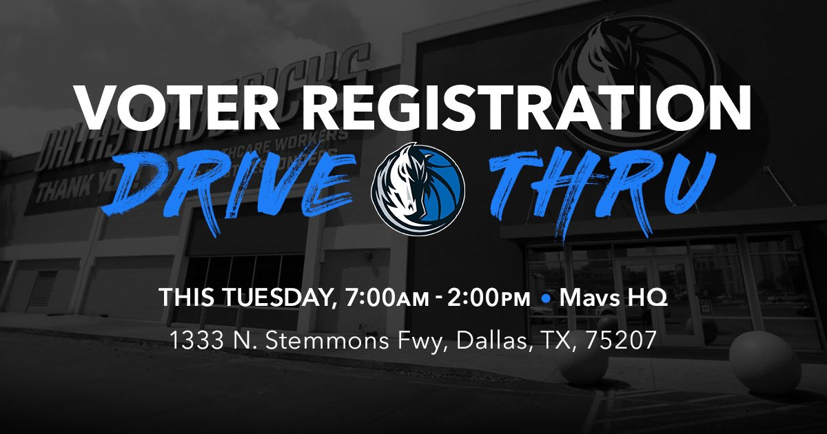 3 days away from our Voter Registration Drive-Thru event! Stop  by Mavs HQ to get registered to vote!   Link: https://t.co/Tq0dofdSZM https://t.co/jtzb9RdqOj