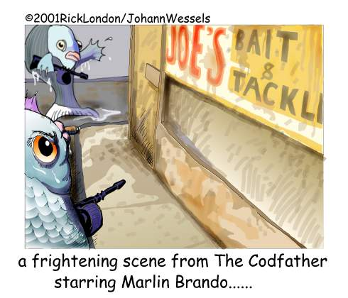 Marlin #Brando In The Codfather by @LTCartoons #marlonbrando #godfather #thegodfather #fish #fishing #bait #baitandtackle #vegan #veganism #humor #mafia #comics #cartoons #ricklondon #LTCartoons #movies https://t.co/o8WS0ydaXk