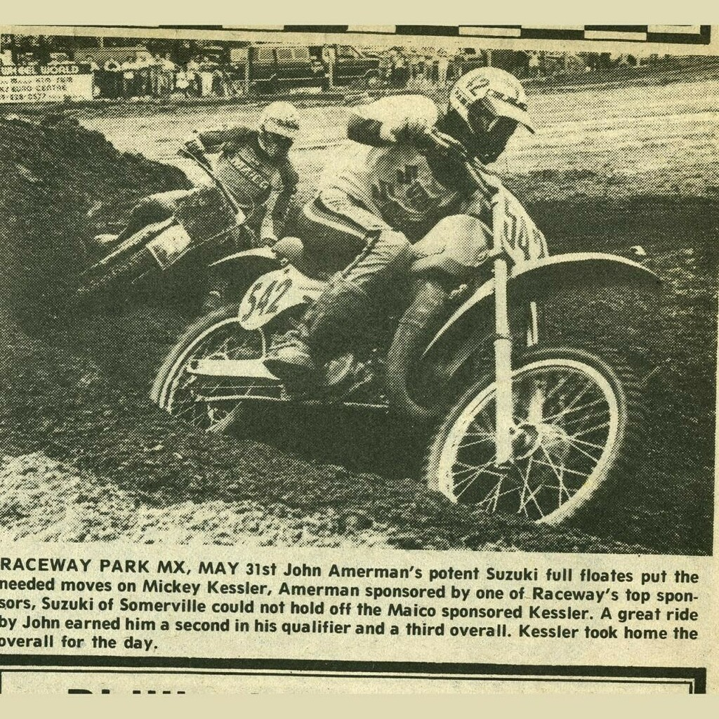 John Amerman & Mickey Kessler - Raceway News Flashback Image - 1981 - #RacewayNews #vintage #flashback #NJMotocross #RacewayPark #NJ  #NewJersey #Motocross @racewayparknj  - See this image and more from 1981 at https://t.co/0SZHaXbMxr https://t.co/WpCBkG9Mzd