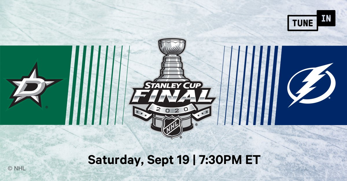 Game 1 between the @DallasStars and @TBLightning is live on TuneIn! Hear this game and  every other game of the #StanleyCupFinals to find out who will hoist the Stanley Cup: https://t.co/4WpsHbsWDM https://t.co/ZWRXGFAwbO