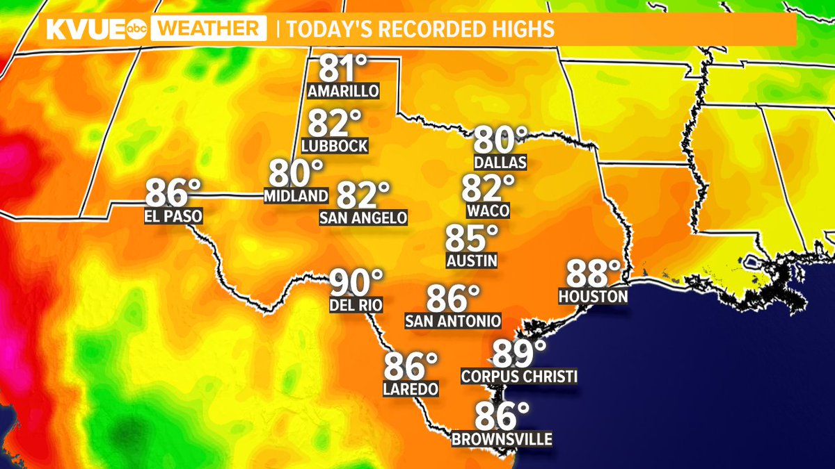 Hope you had a great day! Here's a look at highs across the state today. #ATXWX #KVUE https://t.co/KEAufN0W8s