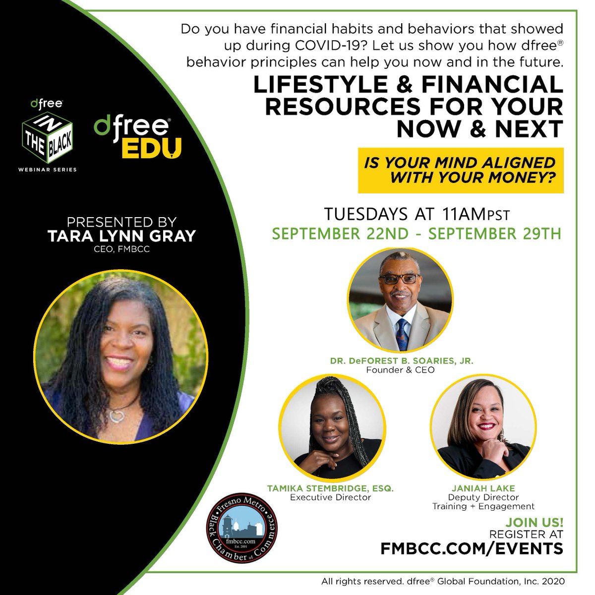 ONLY TWO SESSIONS REMAINING: Join us on Tuesday as we continue our thought-provoking conversation on the tools needed to live a @myDFree lifestyle and the 12-steps to financial independence.  Register Here: https://t.co/mOB0WZCcOJ https://t.co/g6CJANZGCd
