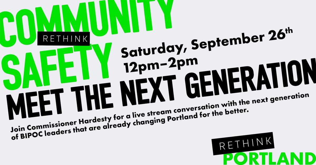 Join Commissioner Jo Ann Hardesty on 9/26 for a live stream conversation with the next generation of BIPOC leaders that are already changing Portland for the better! https://t.co/VJMxk25kuK
